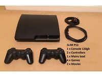 Slim Sony PS3 120GB , Sony Playstation PS3 Bundle, Many Games, 2 controllers, V.G.C