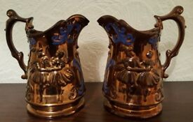 Pair of Large Victorian Copper Lustre Jugs