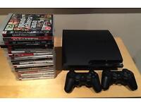 Used PS3 Slim 160gb 2 controllers and 16 games