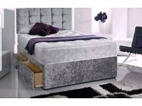 Crushed velvet divan beds FREE DELIVERY