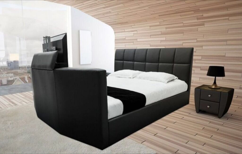 BRAND NEW Leather Bluetooth Surround Sound TV Bed