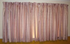 CURTAINS PINK/SILVER 53 INCH DROP IN VERY GOOD CONDITION
