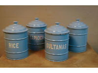 50s Blue Enamel Storage Jars