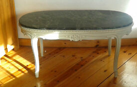 Marble Top Dark Green Oval French Coffee Table With White Wooden Frame