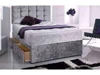 ⚡CRUSHED VELVET DIVAN BEDS FREE DELIVERY ⚡