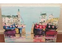 Colourful bright boat canvas. Collect Darlington