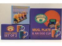 NEW MARMITE MUGS EGG CUPS & BREAKFAST / TEA SET