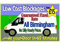 """£15""Fixed Rates from ""£15""(NO MORE-NO LESS) 1 Hour Arrival ""FREE QUOTE"" 24/7 Blocked toilet, drains"