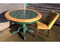 Round Pine Dining Table ~ *DELIVERY POSSIBLE* ~ Country Green shabby chic Cottage Breakfast oak