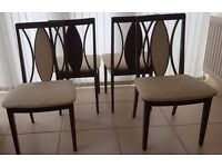 4 G Plan Mahogany Dining Chairs with cream upholstery