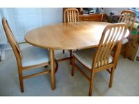 Large family sized Cherry wood Dining Table & Chairs
