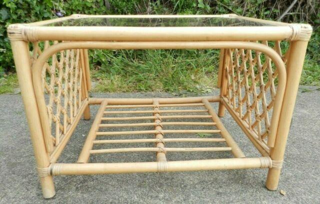 Vintage 1970s Bamboocane Glass Top Coffee Table With Storage Boho Tiki Garden In Lowestoft Suffolk Gumtree