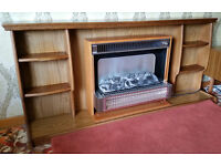 Teak fireplace surround with Belling electric fire