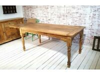 Extendable Rustic Farmhouse Kitchen Dining Table Turned Leg Natural - Seats up to Twelve People