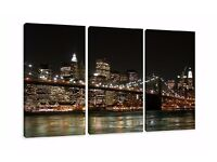 Three-parts New York print on canvas - Large 63x35in