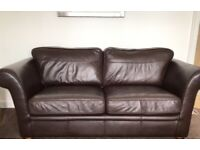 2 BROWN LEATHER SOFAS IN GOOD CONDITION £180