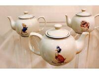 Beatrix Potter Teapots , Peter Rabbit , Jemima Puddleduck , Mrs Tiggiwinkle