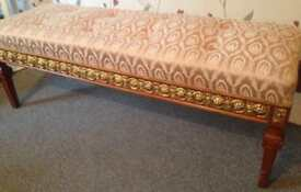 Victorian Tufted Seat Bench furniture - Gold - Wood