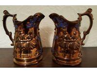 Pair of Pristine Large Victorian Copper Lustre Jugs