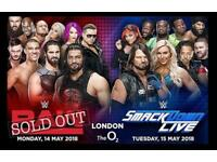 4 TICKETS WWE RAW TICKETS LONDON O2 ARENA 14/05/18