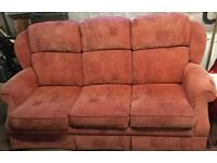 Parker Knoll three piece suite, 3 seater sofa and 2 reclining chairs