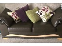 BROWN ..LETHER TWO SOFAS