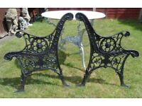 (#771) vintage pair of garden cast iron bench ends (Pick up only, Dy4 area)