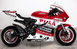 Venom x15 Super Pocket Bike 90cc Gas 4 Stroke Mini Bike - LED Headlights, Performance Exhaust, Speedometer - Automatic