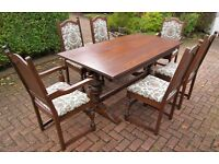 Solid Oak 6'x3' Refectory Dining Table & 6 Chairs (2 Carvers), Wood Bros Sovereign Range