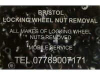 LOCKING WHEEL NUT REMOVAL, LOCKING WHEEL NUTS REMOVED, LOCKING WHEEL NUT REMOVER BRISTOL