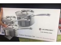 Le Creuset 3 Piece Saucepan Set 3-ply Stainless Steel