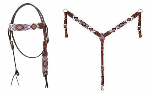 Circle Y Beaded Brown Aztec Headstall X0221-2004 OR Breast Collar X4121-2004 NEW