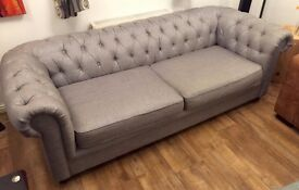 3 Seater Sofa - Chesterfield Style Fabric - Perfect Condition - Collect or can deliver on 28th Jan