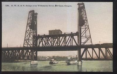 Postcard PORTLAND Oregon/OR  O.W.R.& N. Railroad Lift/Draw Bridge view 1907