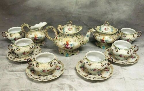 13-Piece Tea Set Teapot 19th Century Old Early Nippon Japanese Moriage Floral