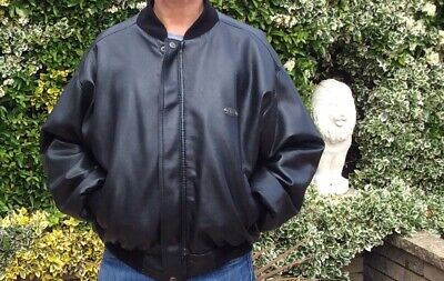 Men's Vintage Black Faux Leather Bomber Jacket 80s 90s V Made in Italy - Size M