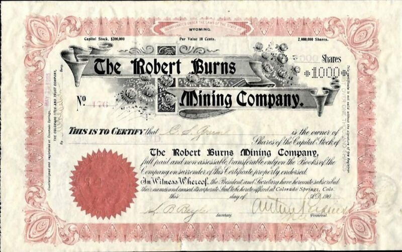 CRIPPLE CREEK, CO:  ROBERT BURNS MINING CO, 1903, ISSUED AND UNCANCELLED