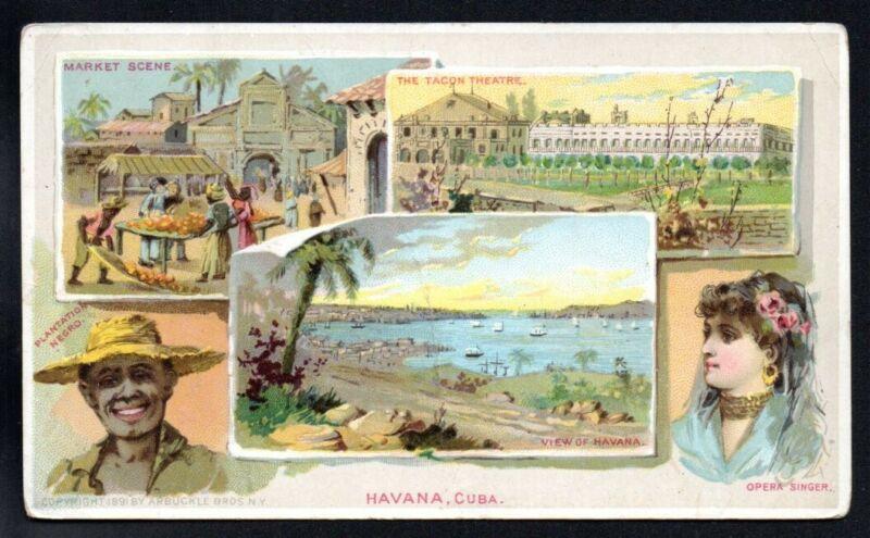 HAVANNA CUBA 1891 ARBUCKLE COFFEE victorian ADVERTISING TRADE TRIPS WORLD #36