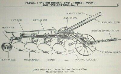 John Deere No. 7 Tractor-drawn Plow Parts Catalog Original 2345 Bottom 1152