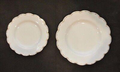2 White Gold Rim Johnson Brothers Dinner & Salad Plates. Wavy Trim Dish. Floral Gold Rim Dinner