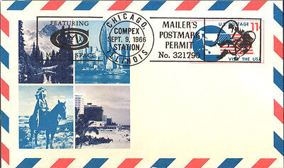 Chicago COMPEX 1966 Postcard Mailer's Mark & Man in Space