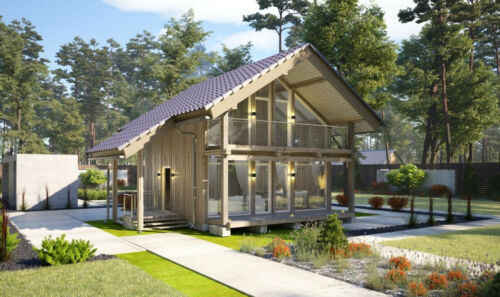 840 SQ.FT ECO SOLID TIMBER AIRTIGHT PANEL HOUSE KIT. MASS WOOD CLT HOME, PREFAB