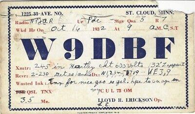 1932 Radio QSL postcard sent from W9DBF, Lloyd Erickson, St. Cloud, Minnesota
