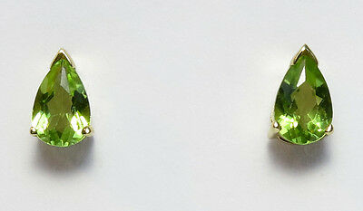 - 14K Yellow Gold Peridot 4x6mm teardrop shaped stud earrings