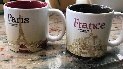 Starbucks Paris and France Demi Espresso Cups Set Two Demitasse 3 oz Excellent
