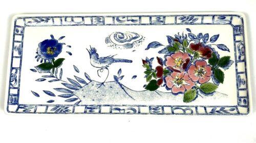 Oiseau Bleu Fleuri by Gien France Rectangle Serving Tray Flowers Pansies Bird