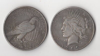 1769 Peace Dollar Toned Silver Plated Novelty Fantasy Issue Coin