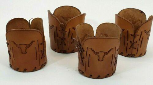 Vintage Western Highball Leather Glass Sleeves Set Of 4 Longhorn