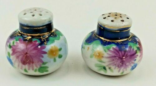 ANTIQUE HAND PAINTED FLOWERS FLOW BLUE SALT & PEPPER SHAKERS SET BEAUTIFUL