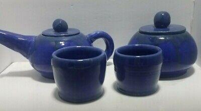 Handmade Royal Blue Glazed Ceramic Tea Set  Green Drip Rim OOAK Pot Sugar 2 Cup